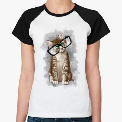 Женская футболка реглан Котенок в очках