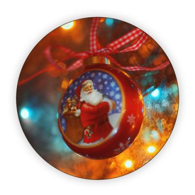Костер (подставка под кружку) Ёлочный шар Санта Клаус
