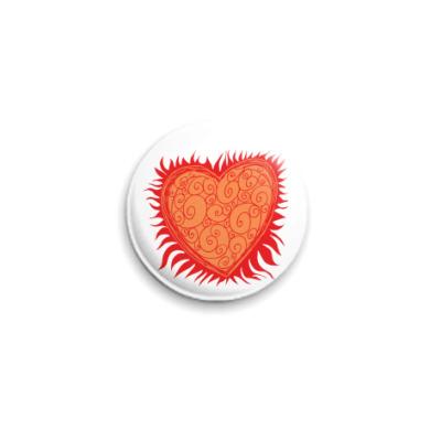 Значок 25мм Сердце Огонь
