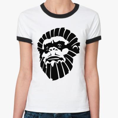 Женская футболка Ringer-T Лицо обезьяны