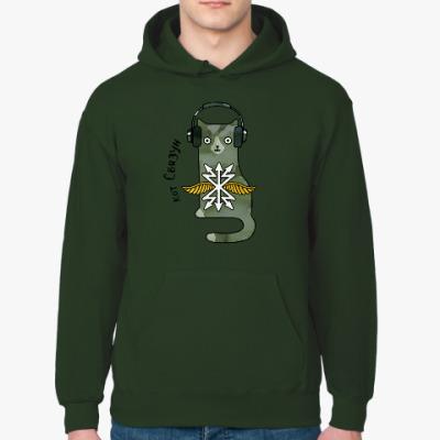 Толстовка худи военный кот связист