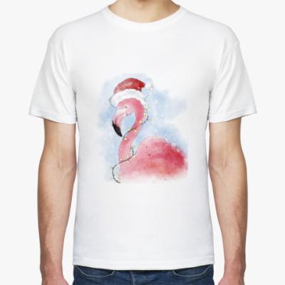 Футболка Фламинго в шапке Санты