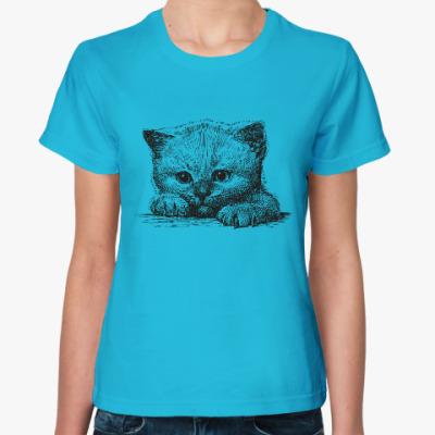 Женская футболка Кот. Кошка. Cat. Kitty.