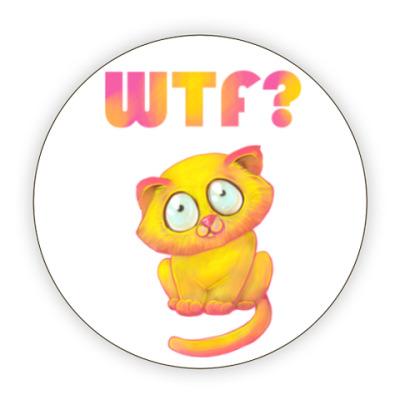 Костер (подставка под кружку) котик wtf
