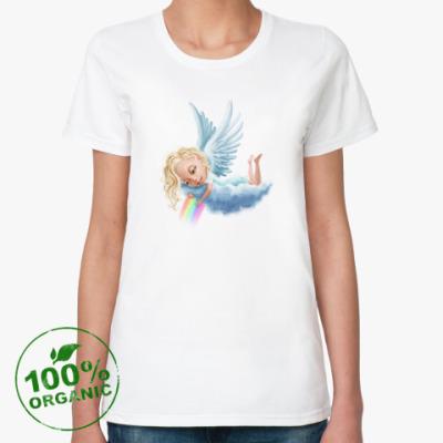 Женская футболка из органик-хлопка Ангел и радуга
