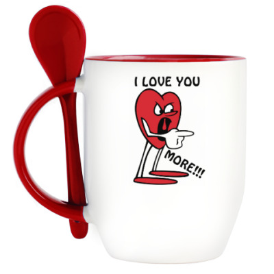 Кружка с ложкой Я люблю тебя сильнее !!!
