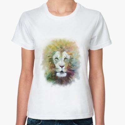 Классическая футболка Лев, акварель