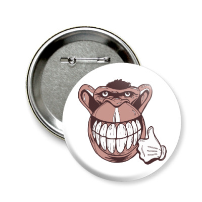 Значок 58мм Веселая обезьяна