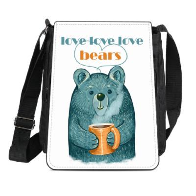 Сумка-планшет Медведь с кружкой