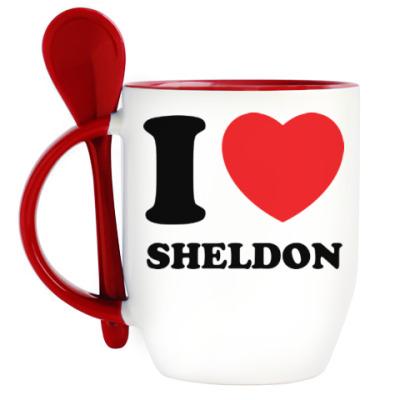 Кружка с ложкой I Love Sheldon
