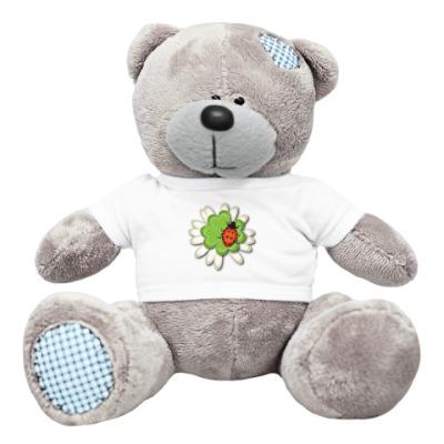 Плюшевый мишка Тедди цветочек c коровкой