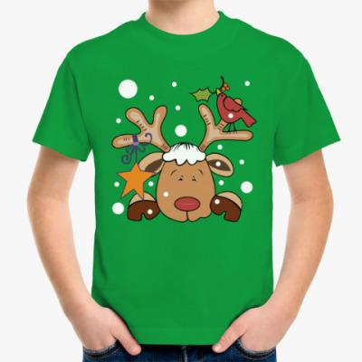 Детская футболка Новогодний олень и снегирь