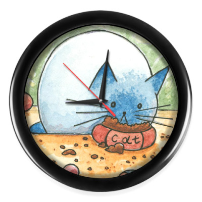 Настенные часы Котик кушает корм
