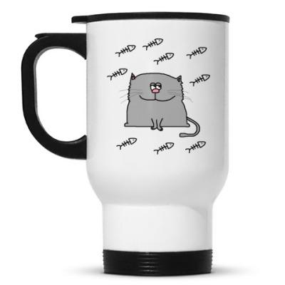 Кружка-термос Довольный кот