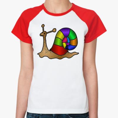 Женская футболка реглан Летняя улитка