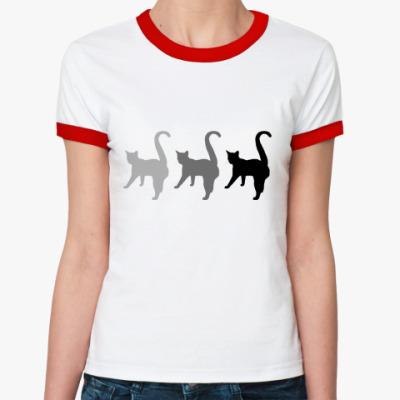 Женская футболка Ringer-T Три кота