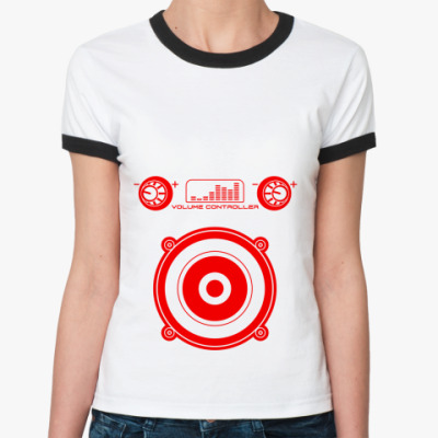 Женская футболка Ringer-T VOLUME CONTROLLER