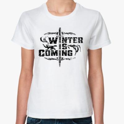 Классическая футболка Игра престолов.Зима близко