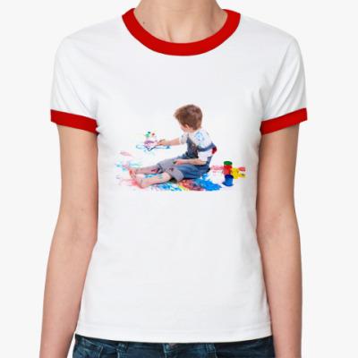 """Женская футболка Ringer-T  """"Раскрась сам"""""""