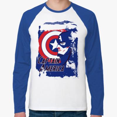 Футболка реглан с длинным рукавом  Капитан Америка