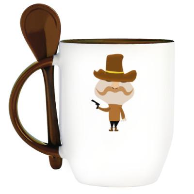 Кружка с ложкой  Kowboy