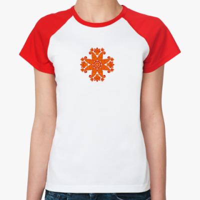 Женская футболка реглан Восточный цветок