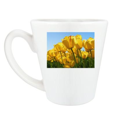 Чашка Латте тюльпаны