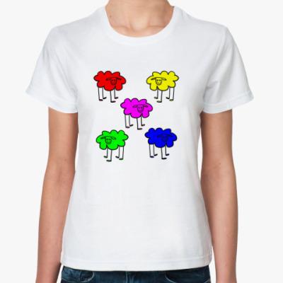 Классическая футболка Разноцветные овечки
