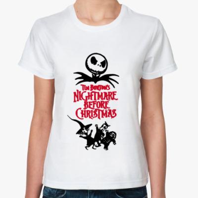 """Классическая футболка Жен.""""Ночь перед рождеством"""""""