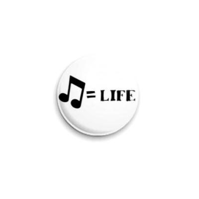 Значок 25мм music is life