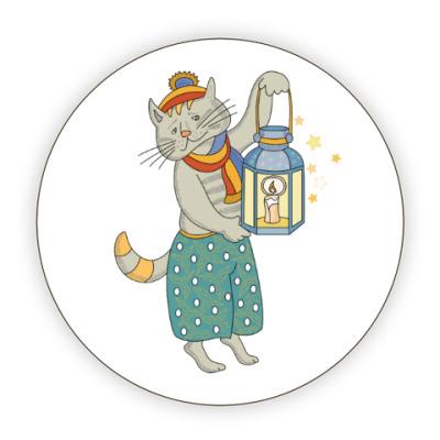 Костер (подставка под кружку) Кошка на счастье