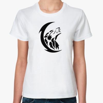 Классическая футболка  Волк и луна