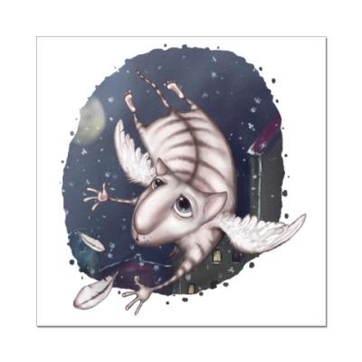Наклейка (стикер)  Кот-Ангел