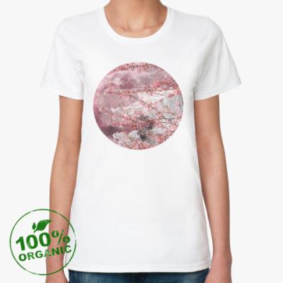 Женская футболка из органик-хлопка Японская сакура весной