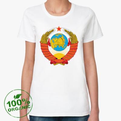 Женская футболка из органик-хлопка  Герб СССР