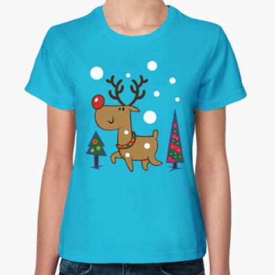 Женская футболка Олень и ёлки
