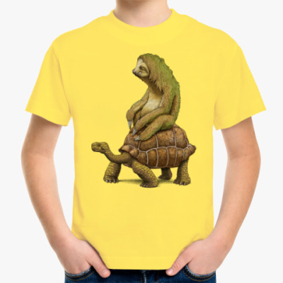 Детская футболка Ленивец на черепахе
