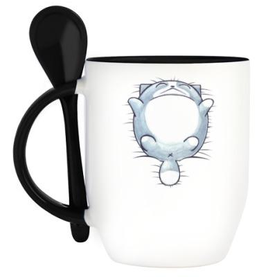 Кружка с ложкой Круглый кот