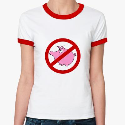 Женская футболка Ringer-T Стоп Свиной Грипп
