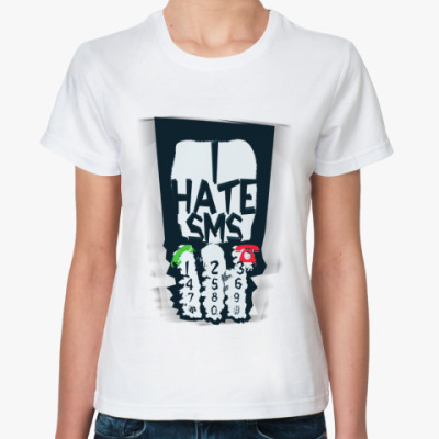 Классическая футболка 'ihateSMS'