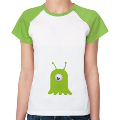 Женская футболка реглан Мозговой слизень