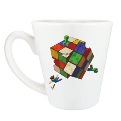 Чашка Латте Майнкрафт и кубик Рубика