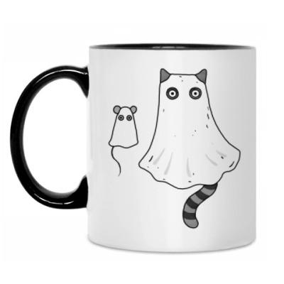 Кружка Ночной кошмар - кот и мышь приведения