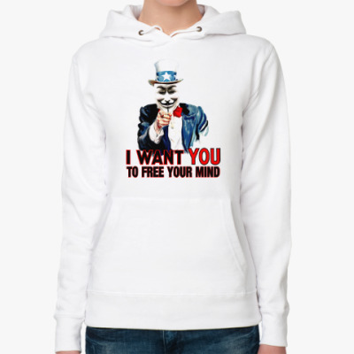 Женская толстовка худи Anonymous Uncle Sam