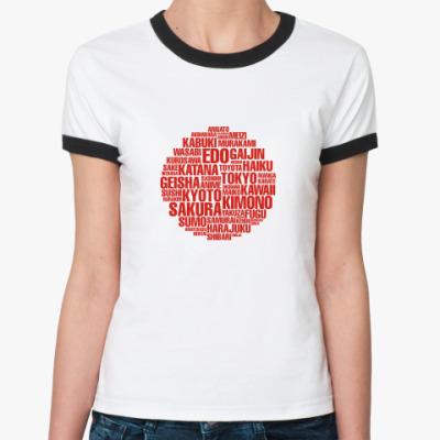 Женская футболка Ringer-T 'Японский флаг'