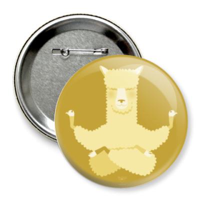 Значок 75мм Animal Zen: A is for Alpaca