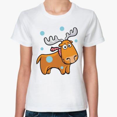 Классическая футболка Олень с шарфом