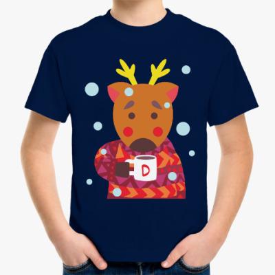 Детская футболка Олень с чашкой