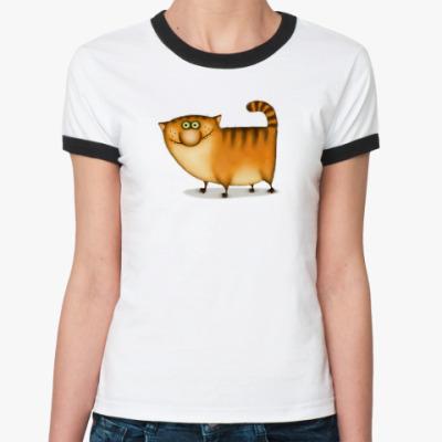 Женская футболка Ringer-T  ж Рыжий Кот