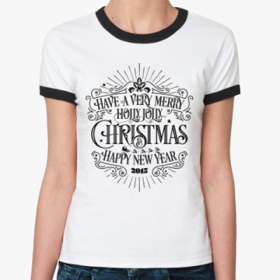 Женская футболка Ringer-T Новый 2015 год (овцы, козы)
